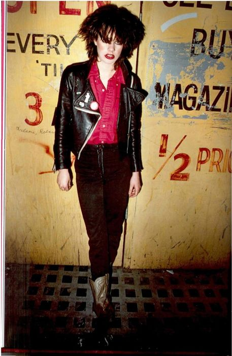 vintage everyday: Photos of Punk Rockers in Late '70s California. leather jacket with pins, red buttonup, highwaisted pants, cowboy boots
