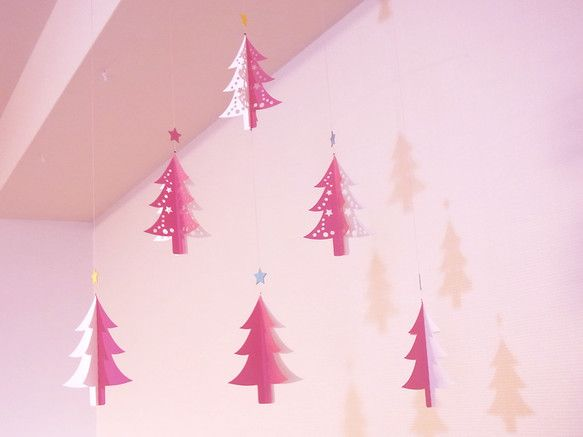 モビール - クリスマス・ツリー(pink) -|ueCno