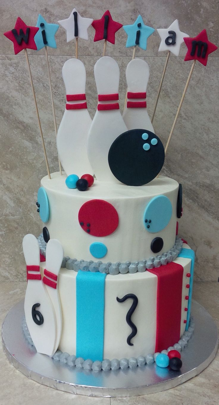 Bowling Birthday Cake. Buttercream cake with fondant decorations.