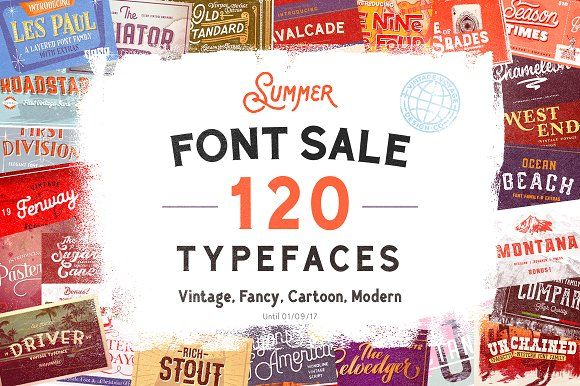 120 in 1 • Summer Font Sale -99% OFF by Vintage Voyage Design Co. on @creativemarket
