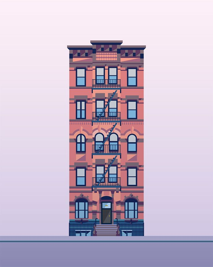 Building Illustration, City Illustration, Illustration Styles, East  Village, Flat Design, Buildings, Apartments, The Building, In New York