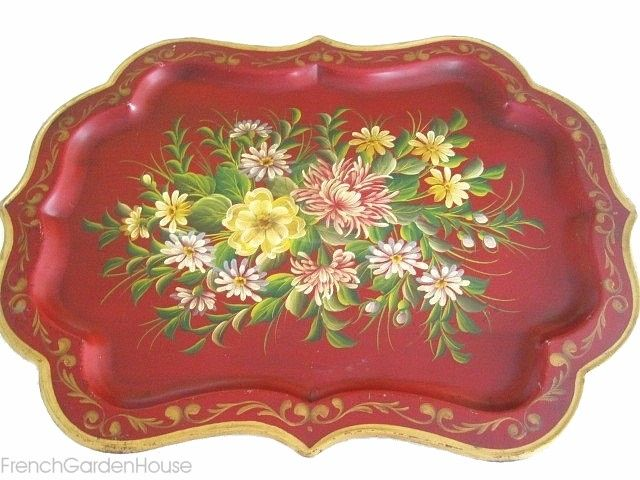 Vintage RED Toleware Hand Painted French Country Chippendale Large Tray