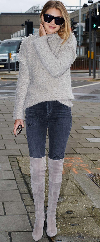 Gigi Hadid in Stuart Weitzman Over-the-Knee Highland Boots