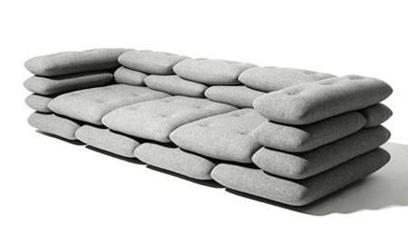 The Brick Sofa by KIBISI.  Good thing I haven't had to deal with a flood situation, I might see it as sandbags; instead of course I just think it's really cool.
