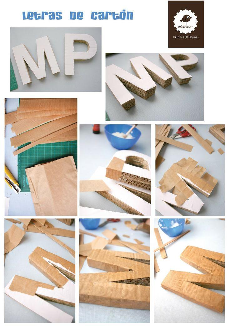 tutorial letras carton por milanesa- III partecómo hacer letras con cartón.- tutorial - hazlo tu mismo  How to make a cardboard letters - tutorial - DIY www.milanesabcn.blogspot.com #letter, #cardboardletter, #cardboard, #DIY