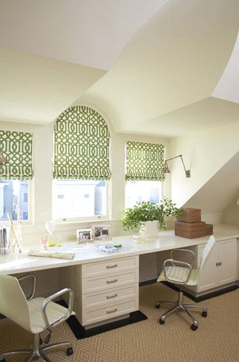Window treatments, loveAttic Office, Romans Shades, Offices Spaces, Work Spaces, Workspaces, Offices Ideas, Window Treatments, Windows Treatments, Home Offices