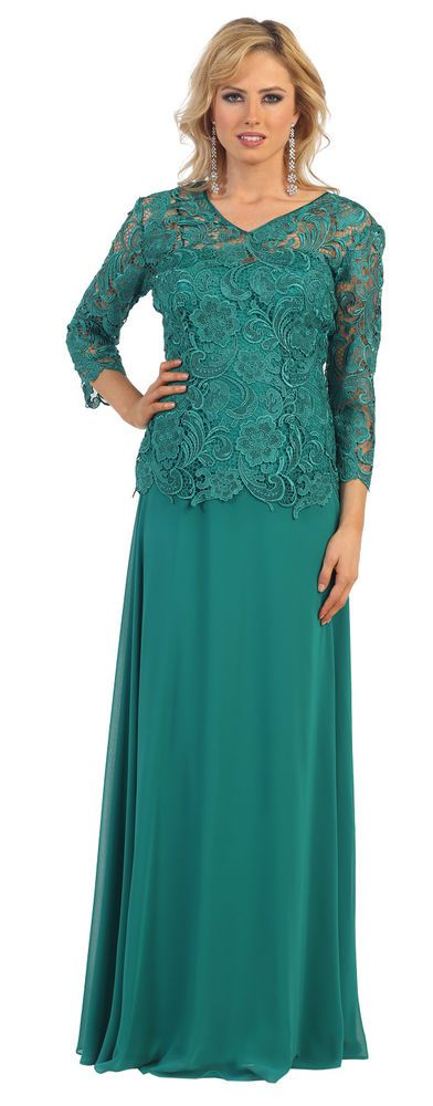 Modest Long Sleeve Lace Mother of the Bride Dress Plus Size Formal Evening Gown #ThedressoutleT #Formal