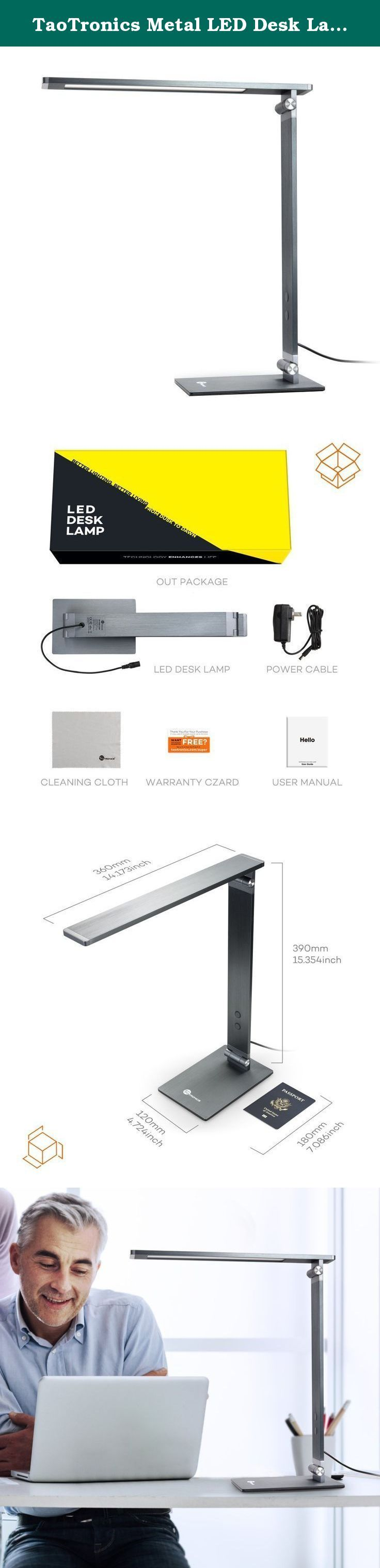 TaoTronics Metal LED Desk Lamp, Table Lamps for Bedrooms Rugged and Durable Metal Body, Superior Desk light for Reading or Task, Touch-Sensitive Control, 4 Light Modes, Glare-Free Desk Light. TaoTronics Metal LED Desk Lamp is made entirely of metal, featuring a minimalistic design at no expense of durability. Premium feel. Everlasting toughness. Let yourself have the best of both. Do not squeeze your tired eyes at the desk light after reading just a few pages anymore. 6000K, 5000K, 4000K...