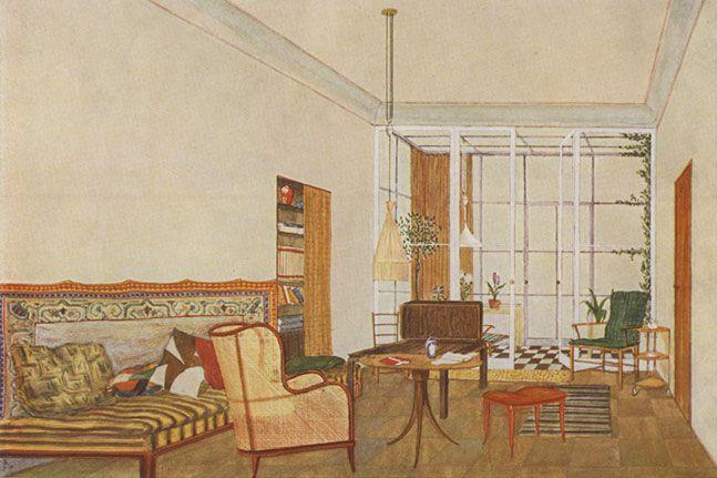 Johann Bochynek - living room with winter garden – © Wien Museum