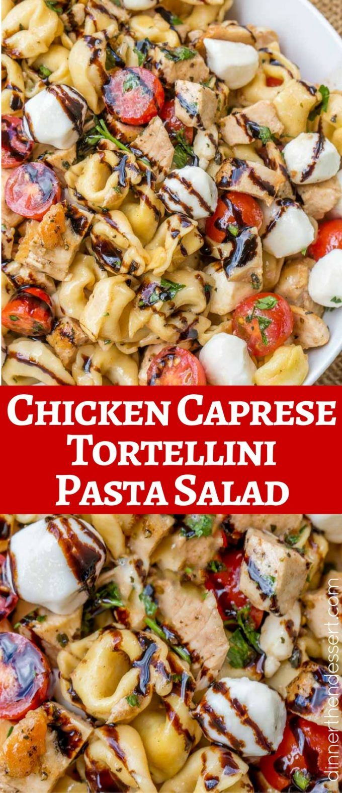 We LOVED this Chicken Caprese Tortellini Salad! With a homemade balsamic glaze and balsamic dressing.