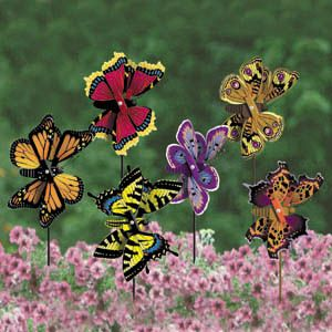 Winter time gardening with kids.  Make butterfly whirligigs with craft wood and paints