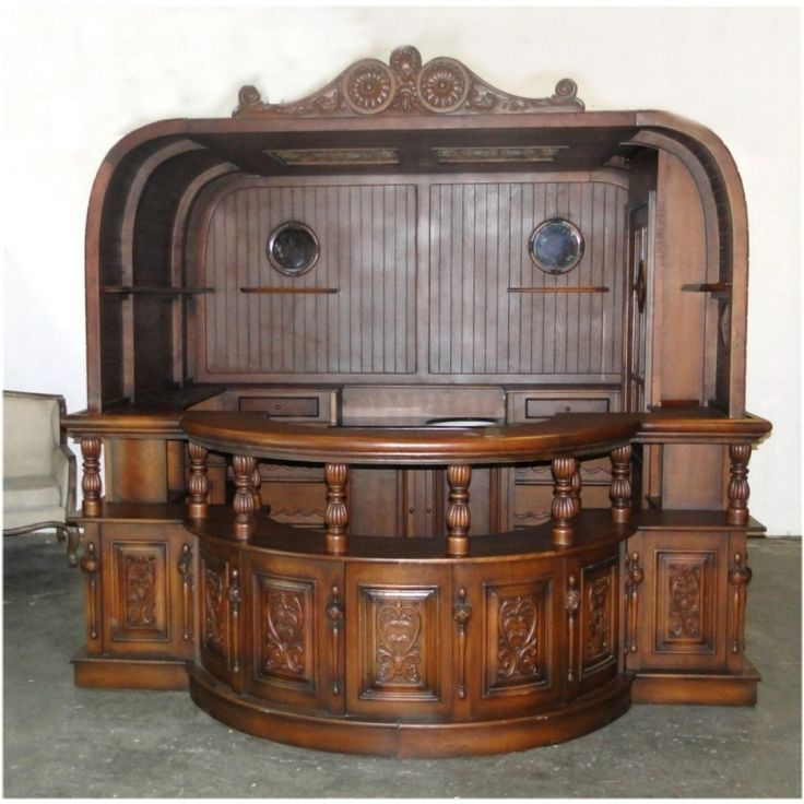 Ships Hull Shaped Boat Large Home Bar Furniture With Tiffany Glass And Turned Rails