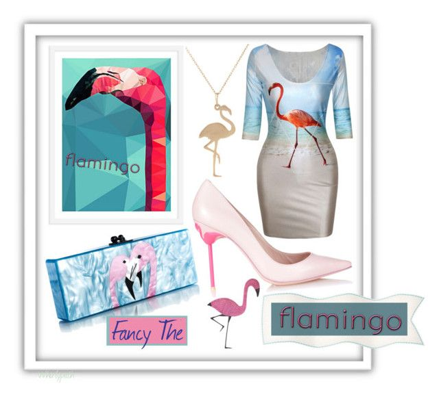 Fancy The Flamingo! by whirlypath on Polyvore featuring Sophia Webster, Bianca Pratt, Dot & Bo and Edie Parker