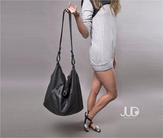 Black leather bag hobo bag leather purse Valentines by JUDtlv
