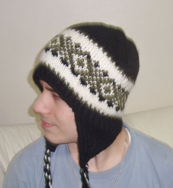 Hand Knit Hat Mens Hat with Ear Flap Beanie in by earflaphats, $39.99