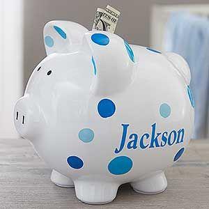Baby Boy Blue Polka Dot Personalized Piggy Bank