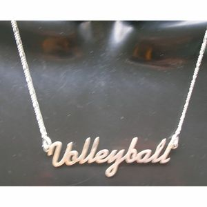 Sterling Silver Volleyball Word Necklace