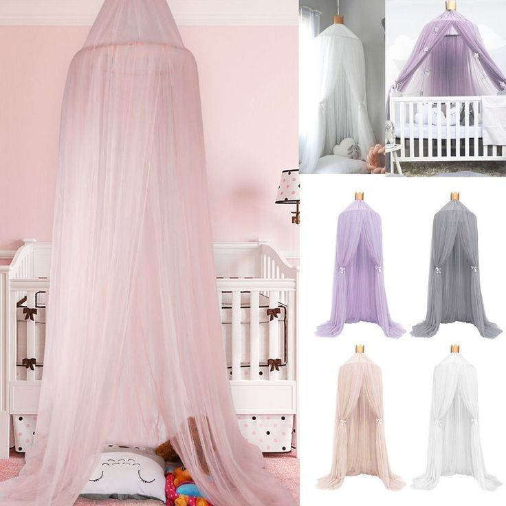 Kids Baby Bed Canopy Bedcover Round Dome Cotton Mosquito Net Curtain Play Tent  | eBay