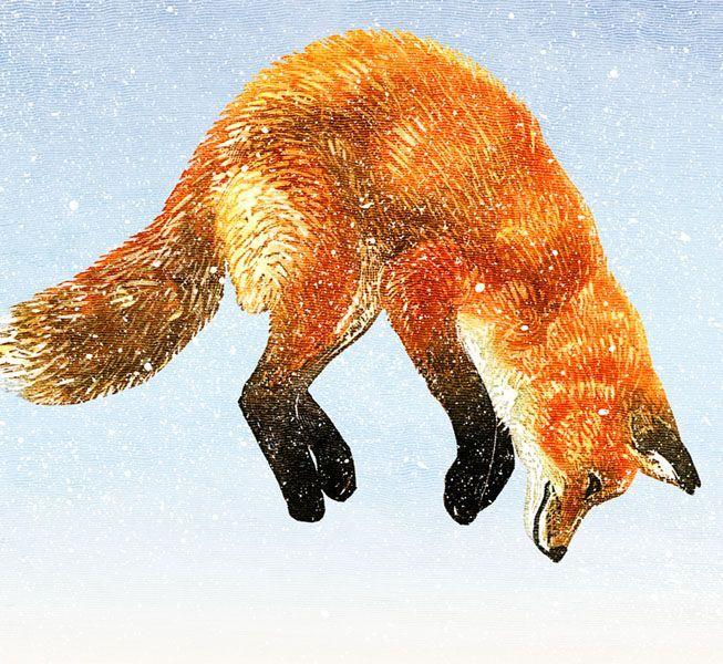 Snow Fall, linocut by Rick Allen