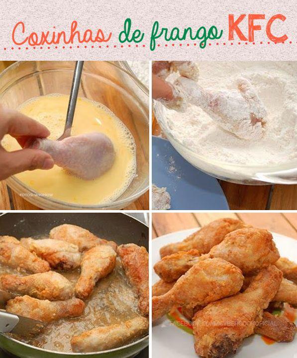 Coxinhas de frango simplesmente divinas! Igual do KFC ;) #receitas #sobremesas #tips #frango #kfc http://cybercook.com.br/receita-de-coxa-de-frango-empanada-by-kem-r-4-91768.html