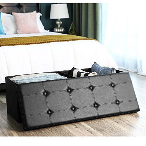 Storage Ottoman Bench Chest Footrest Padded Seat Faux Leather Folding Black Gift #StorageOttomanBenchChestFootrest