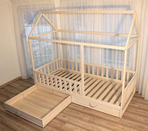 Bemaltes Kinderbett, Kinderbett, Montessori-Bett, Kinderbett, Holzbett, Kinderheim, Waldorfspielzeug, Kinderbett, Kinderzimmer, Etagenbett