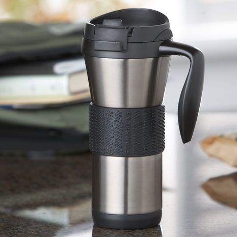 a stainless steel tumbler with noslip grip band ergonomic handle and rubber base - Coffee Travel Mugs