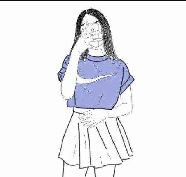 Outline Drawings, Girl Drawings, Pencil Drawings, Girl Outlines, Human Art, Tumblr  Girls, Drawing Stuff, Cartoon Girls, Bad Girls