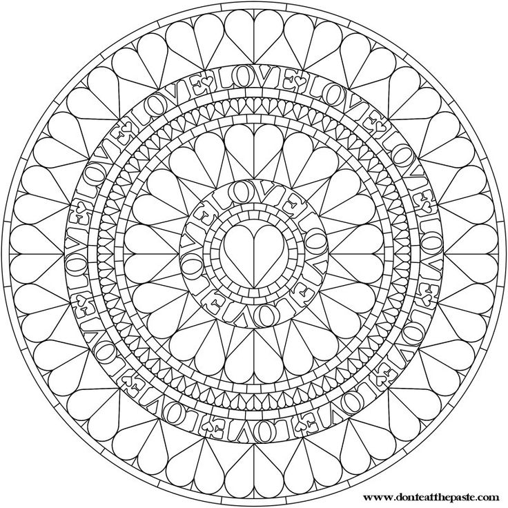 heart mandala to color or embroider
