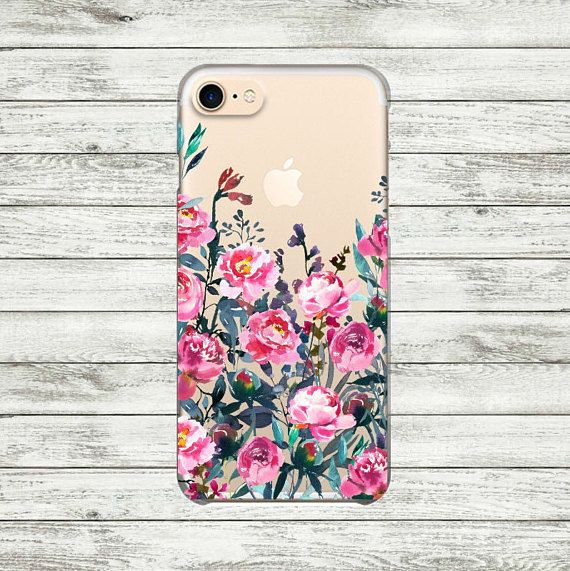 Flowers iPhone 7 Plus case Peonies iPhone 7 clear case