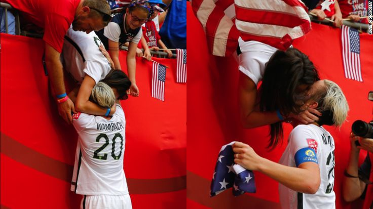 #LoveWins  Abby Wambach runs to the stands to kiss her wife after USA World Cup win. Perfect tribute to the historic U.S. Supreme Court ruling legalizing gay marriage.