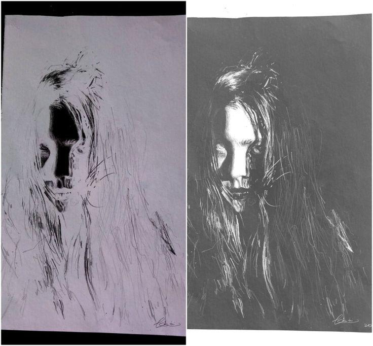 Bloodlust Cover BY Alexandrina Ana #alexandrinaana #art #artwork #girl #black #white #blackandwhite #nagativeart negative