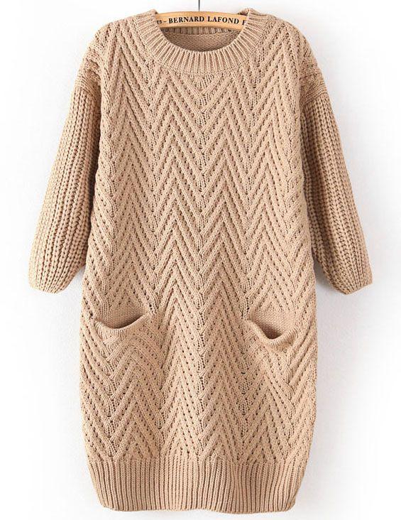 34.26 Khaki Long Sleeve Cable Knit Pockets Sweater - Sheinside.com