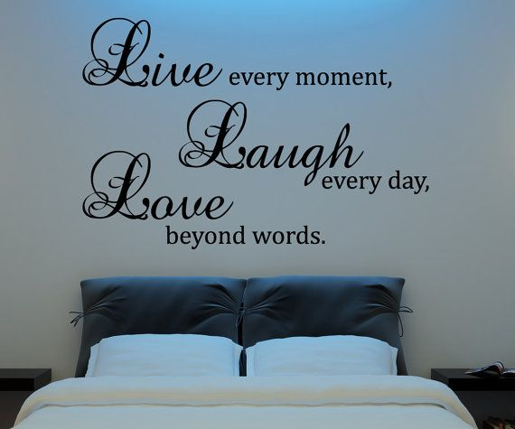 Live Laugh Love Wall Decal Vinyl Sticker Quote Art  Living Room Dining Room Decor mothers day gifts for mom or your mother. $29,99, via Etsy.