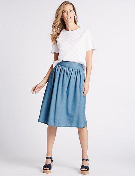 90adf74d9b2 Cotton Rich Full Midi Skirt in 2018