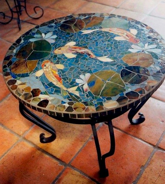 Fish mosaic on a tabletop