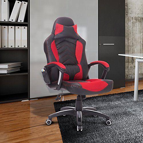 Luxe Fauteuil/Chaise de bureau avec fonction de massage et de réchauffage chauffant modèle de course Rouge et noir neuf 19RD: -Couleur:…