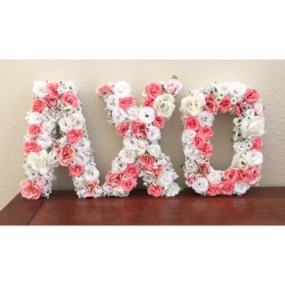 Made to order floral letters. Great for sorority gifts, decor, and baskets, as well as personalized gifts! Letters are 8 inches tall and approx. 5
