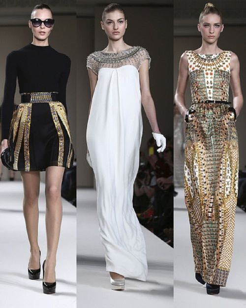 Alice Temperley  Autumn/Winter 2013 collection. Middle picture resembles a sheath dress with the decorated neckline of concentric circles of beading