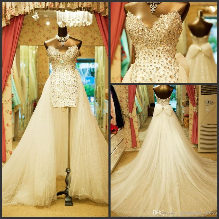 Cheap 2014 shiny detachable train wedding dresses for Detachable train wedding dress