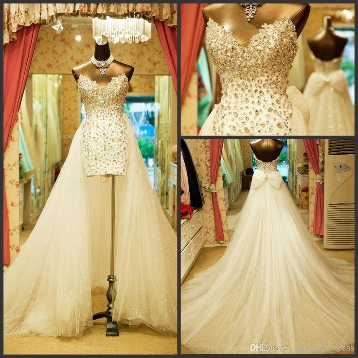 Cheap 2014 shiny detachable train wedding dresses for Detachable train wedding dresses