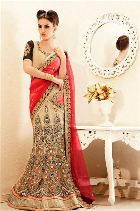 Designer Off White,Tomato Net Lehenga Saree