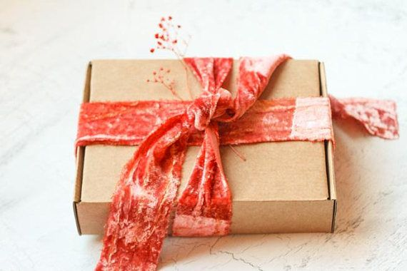 Velvet RIbbon Hand-dyed #velvetribbon #christmas #christmaswrapping