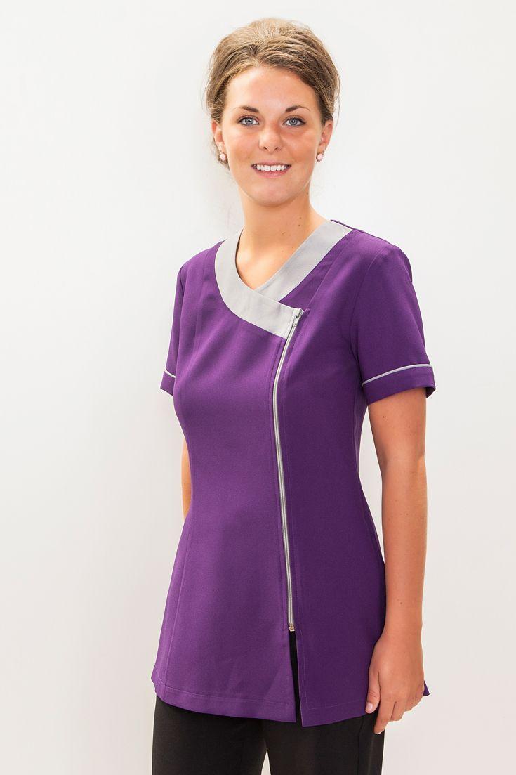 Smart purple grey zip front tunic uniform for dental for Spa uniform grey