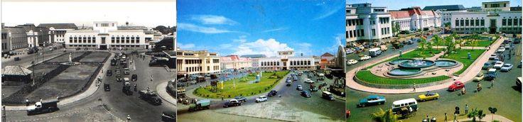 Taman di depan Stasiun Kereta Jakarta Kota (BEOS) Jakarta,  1950an, 1960an, 1970an, sekarang sudah menjadi Terminal Bus Trans Jakarta.
