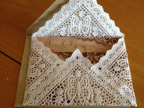 vintage lace wedding invitations. we could do something with these cake dollies but also dip half of it in the colors i want my wedding to be.