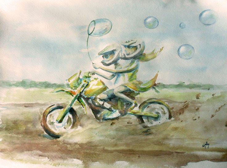 #watercolor, #motorcycle, #motolove, #love, #riders, #enduro, #color, #bubble, #blower