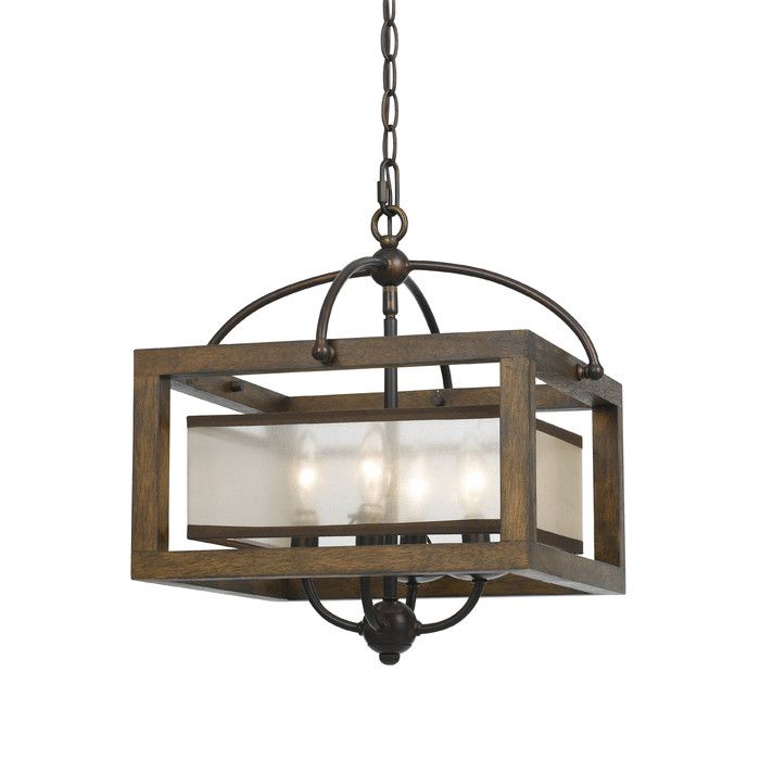 Square Wood Frame and Sheer Ceiling Light