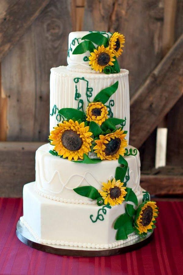 Sunflower Wedding Theme | Wedding Cake. http://simpleweddingstuff.blogspot.com/2014/02/sunflower-wedding-theme.html