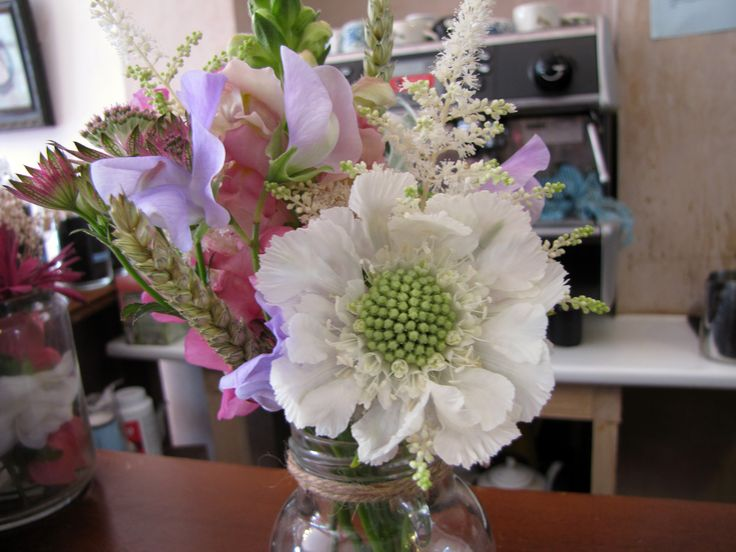 Scabiosa, Sweetpea, Wheat, Snapdragon and Astilbe jamjar posy